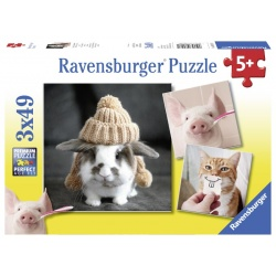 Komische dierenportretten 3x49 stukjes Ravensburger