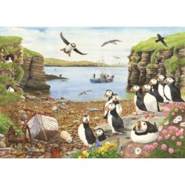 """ouse of Puzzles. 500stukjes Large  ( eind maat standaard 1000)  Puffin Parade """" The Grange Collection """"  68*48cm"""