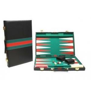 Backgammon zwart met rood-groene bies
