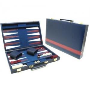 Backgammon blauw met rode bies