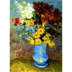 Blauwe vaas met bloemen D-Toys 1000stukjes